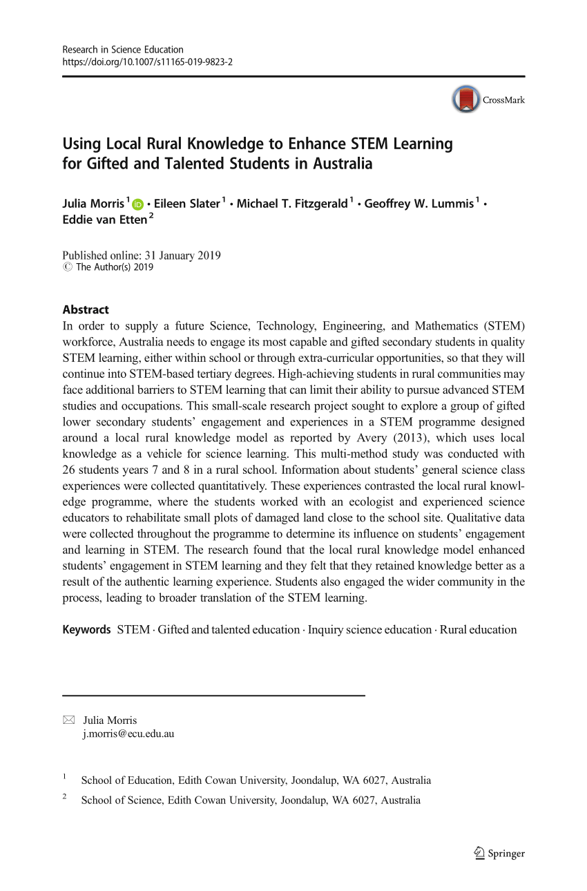 Kettler Julia Rt Pdf Using Local Rural Knowledge To Enhance Stem Learning For