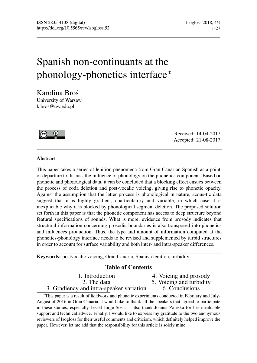 Non Vi Sed Arte In English Pdf Spanish Non Continuants At The Phonology Phonetics Interface