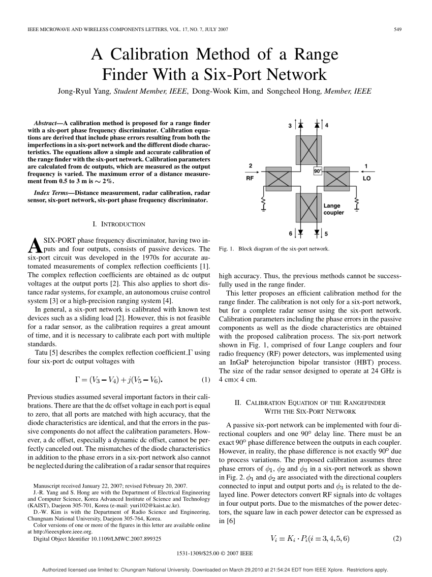Port Network Pdf A 24 Ghz Radar Sensor With A Six Port Network For Short Range