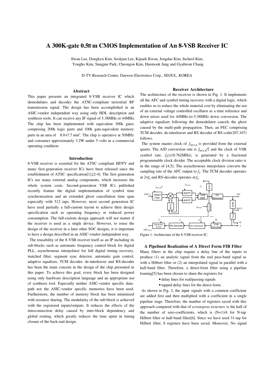 Hilberts Interieur Pdf A 300 K Gate 5 μm Cmos Implementation Of An 8 Vsb Receiver