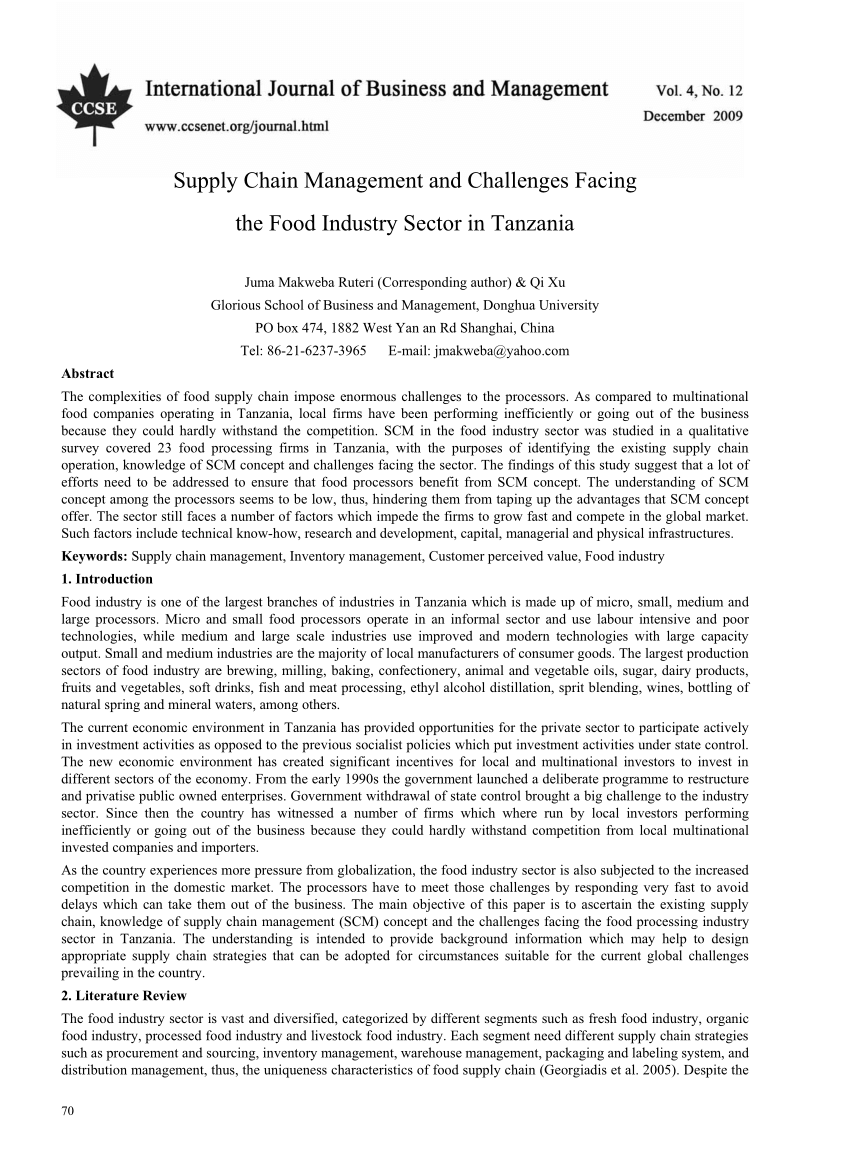 Wholesale Suppliers In Tanzania Pdf Supply Chain Management And Challenges Facing The Food