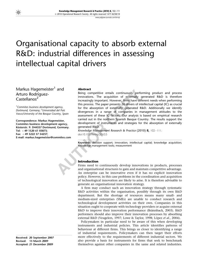 Capital Pais Vasco Pdf Organisational Capacity To Absorb External Rd Industrial