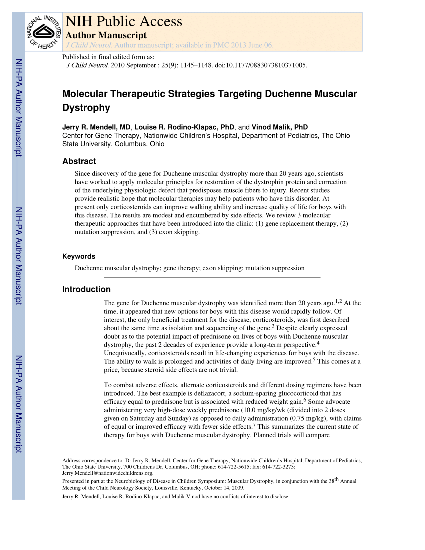 Duchenne Muscular Dystrophy Nih Pdf Molecular Therapeutic Strategies Targeting Duchenne Muscular