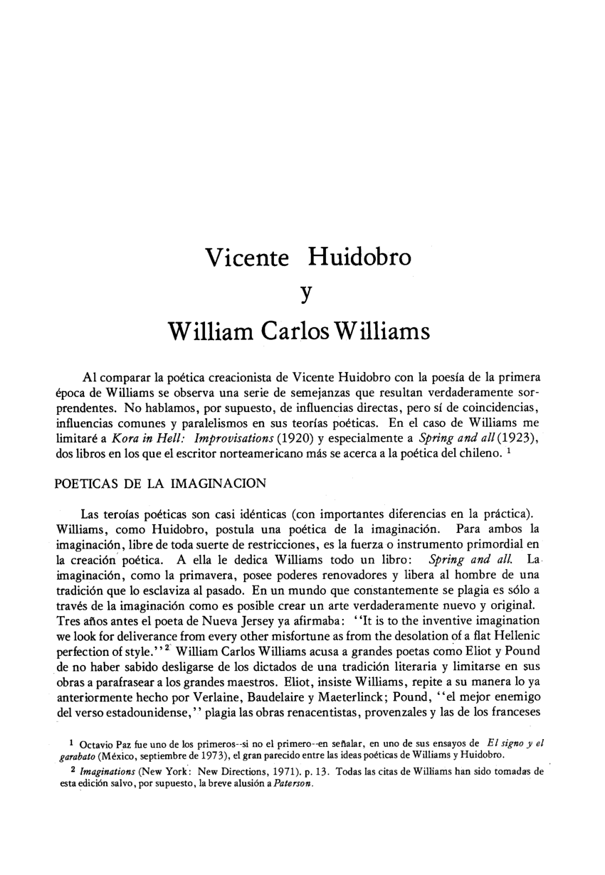 Arte Poetica Analisis Vicente Huidobro Pdf Vicente Huidobro Y William Carlos Williams