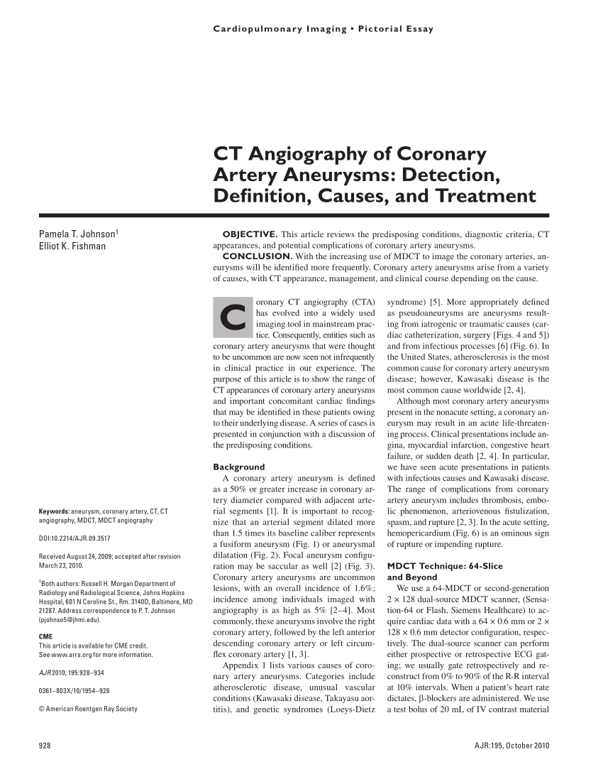 Arte Johnson Address Pdf Ct Angiography Of Coronary Artery Aneurysms Detection