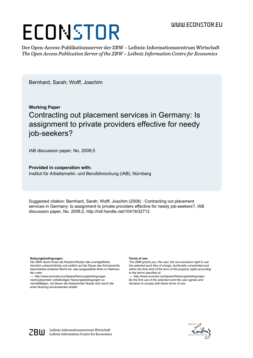 Arbeitsagentur Indeed Private Job Placement Services A Microeconometric Evaluation For