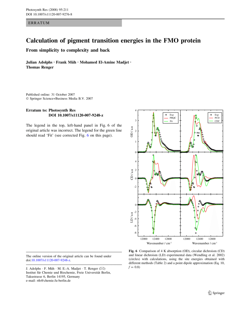 Cm Fu Berlin Pdf Erratum To Calculation Of Pigment Transition Energies In The