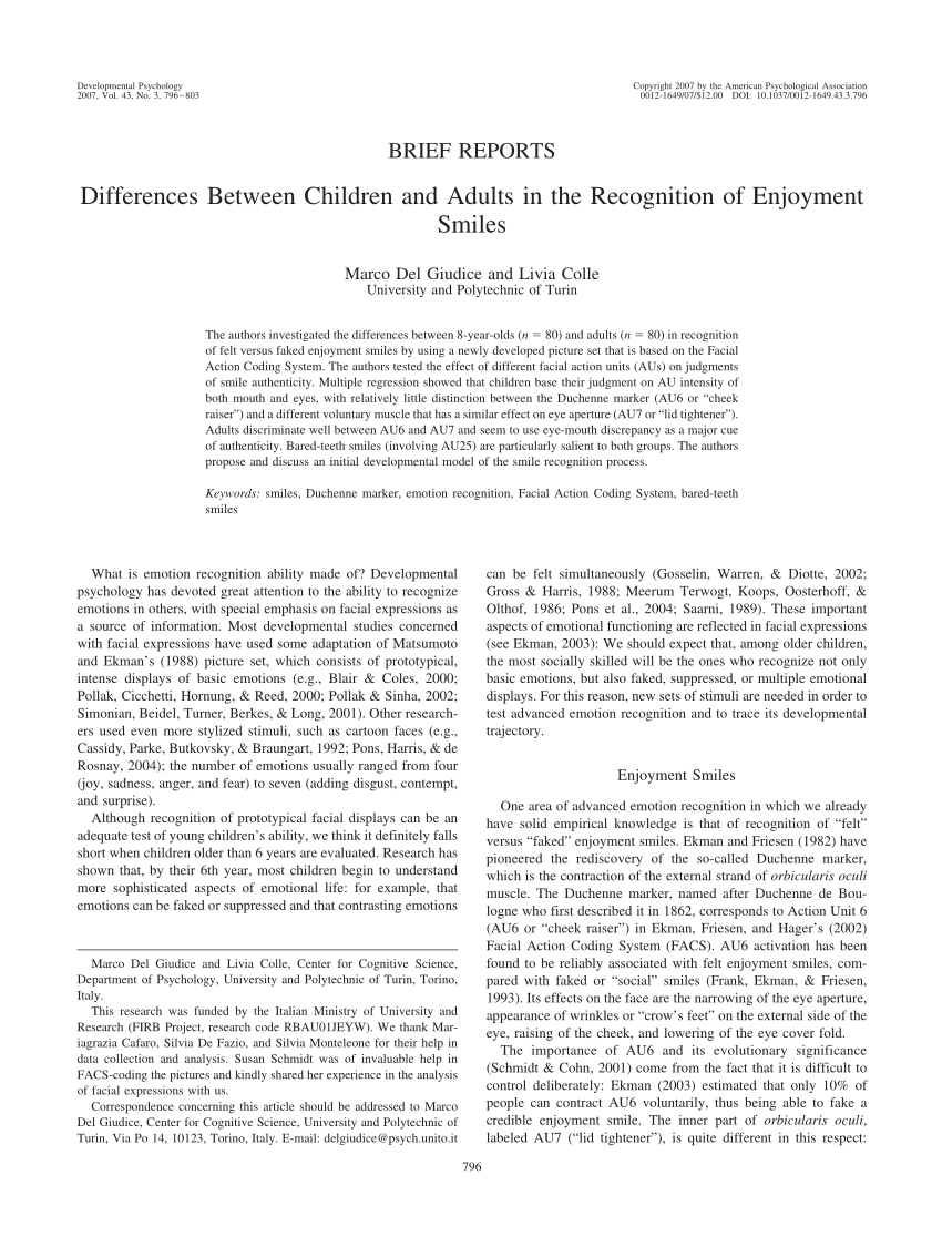 Duchenne Marker Smile In Search Of The Duchenne Smile Evidence From Eye Movements