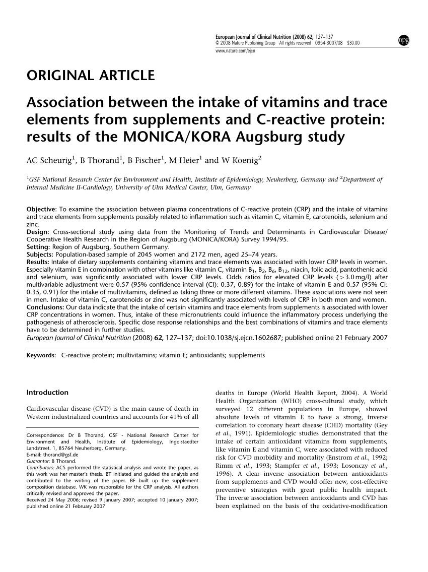 Elements Augsburg Pdf Association Between The Intake Of Vitamins And Trace Elements