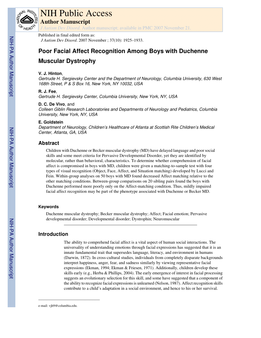Duchenne Muscular Dystrophy Nih Pdf Poor Facial Affect Recognition Among Boys With Duchenne