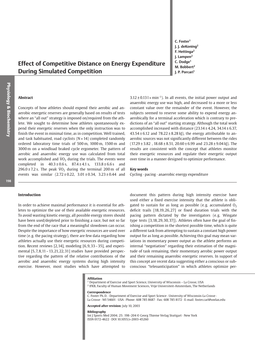 Lampengeschäft Stuttgart Pdf Effect Of Competitive Distance On Energy Expenditure During