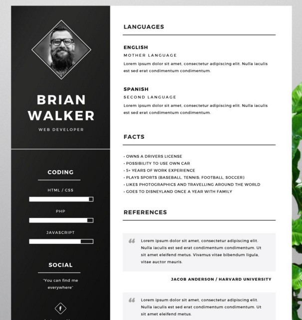photoshop cv a template word