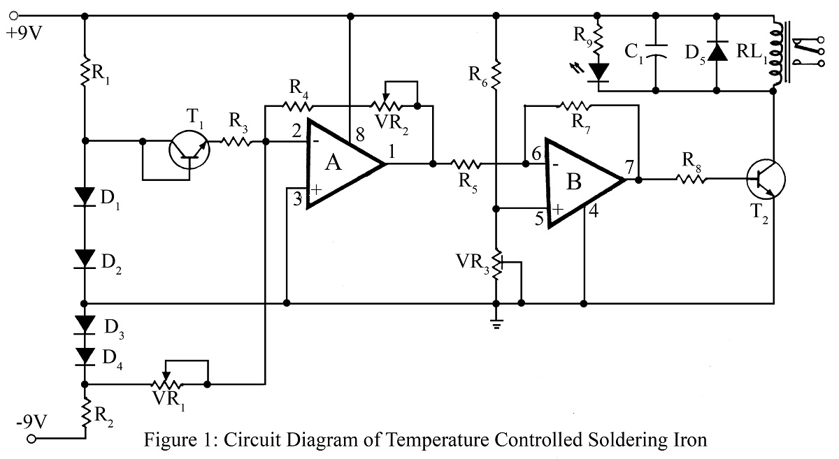 temperaturecontrolled soldering iron circuit diagram