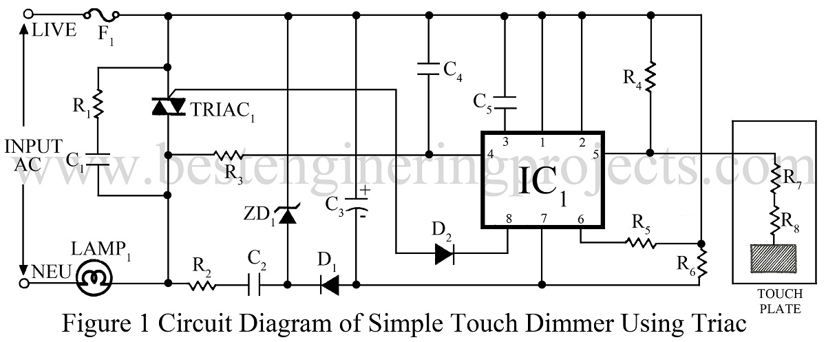 schematics of delabs triac based lamp dimmer power control
