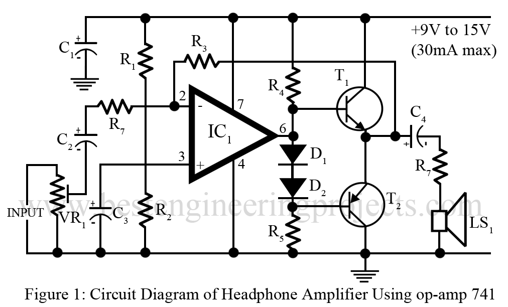 headphone amplifier circuit with op amp