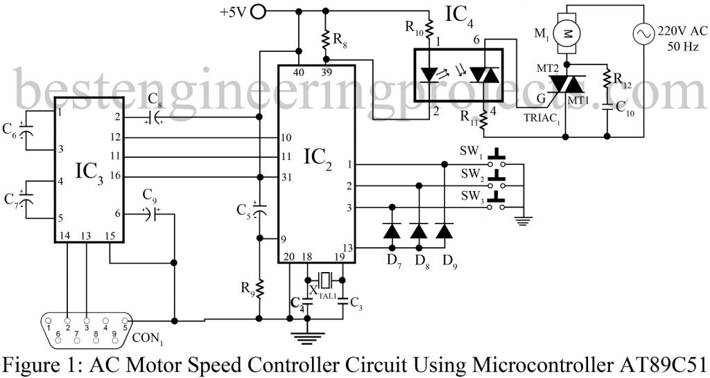 ac motor speed control circuit diagram triac