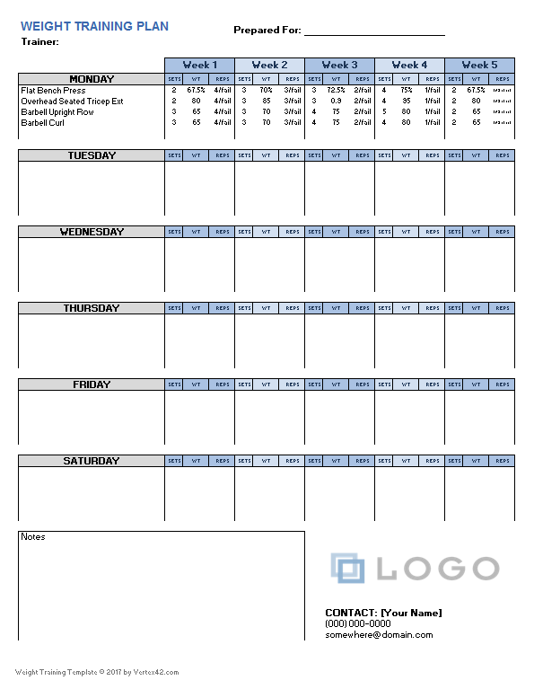 weightlifting template excel