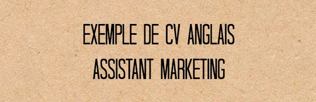 cv assistant marketing en anglais