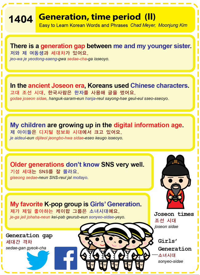 Easy to Learn Korean 1404 \u2013 Generation, time period (part two