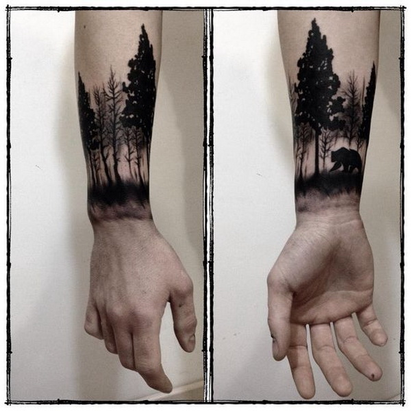 Forest Wrist Tattoo Men
