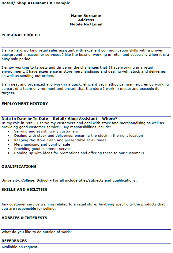 cv for retail assistant
