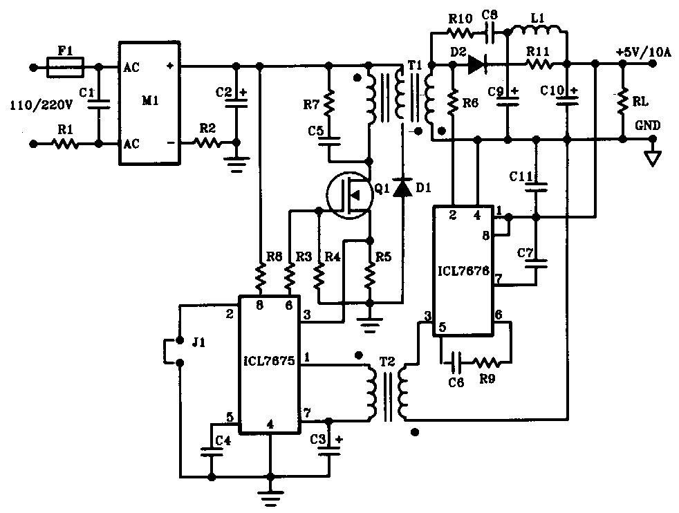 5v 10a 50w offline switching power supply circuit diagram