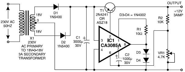 regulated 12 volt power supply circuit diagram