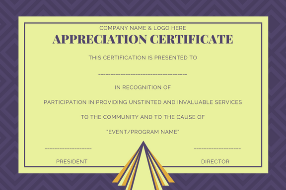 sample of appreciation certificates