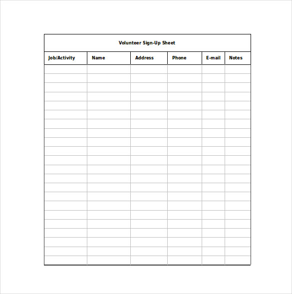 12+ Sign Up Sheet Templates u2013 Free Excel Word Sample u2013 Template - email sign up sheet template word