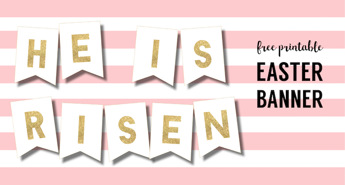 DIY Religious He is Risen Banner Free Printable - Paper Trail Design - free printable religious easter cards