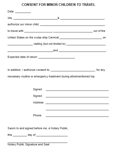 trip consent form template - Ozilalmanoof - child travel consent form usa