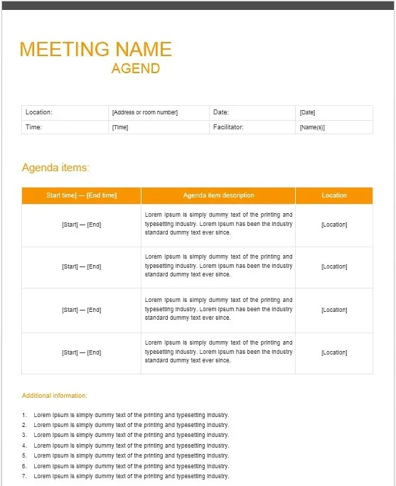 13 Free Sample Office Meeting Agenda Templates - Printable Samples