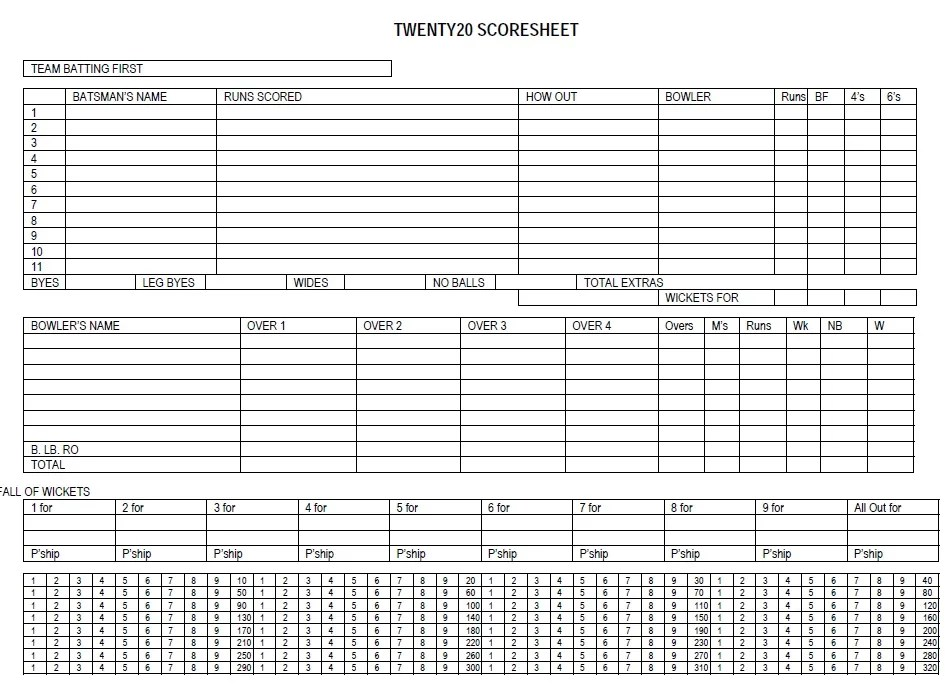 11 Free Sample Cricket Score Sheet Templates - Printable Samples