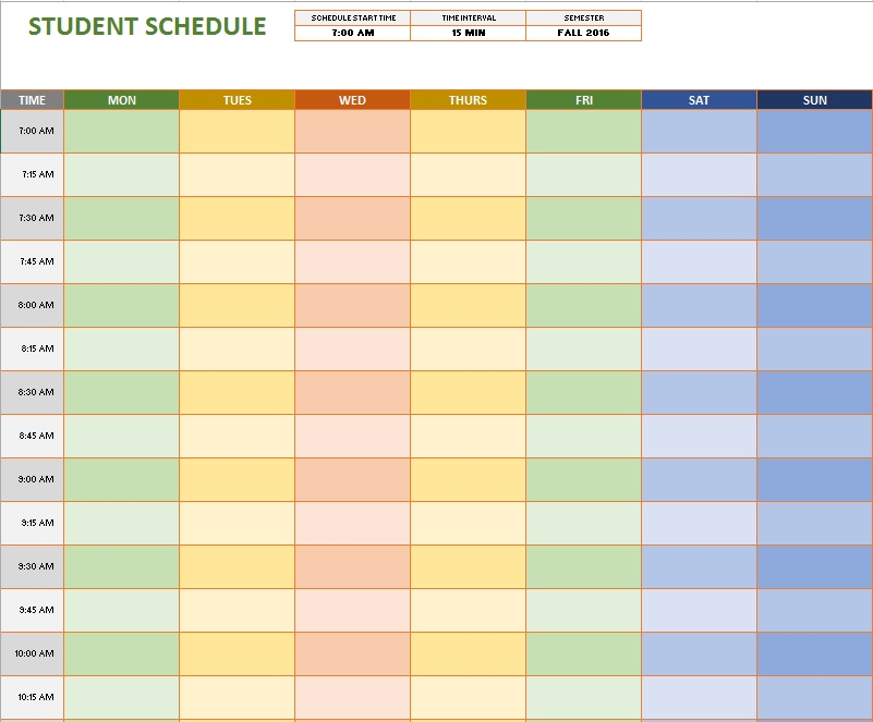 weekly-student-schedule-template 8 - Printable Samples - weekly class schedule template