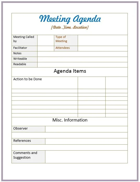 10 Free Sample Informal Agenda Templates For Your Casual Meetings - meeting agenda templates