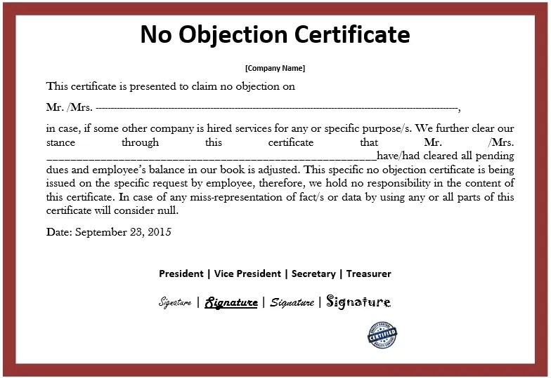 ... 10 Free Sample No Objection Certificate Templates U2013 Printable  Samples   Noc No Objection Certificate ...  No Objection Certificate From Employer Sample