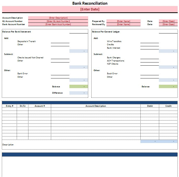 bank reconciliation template