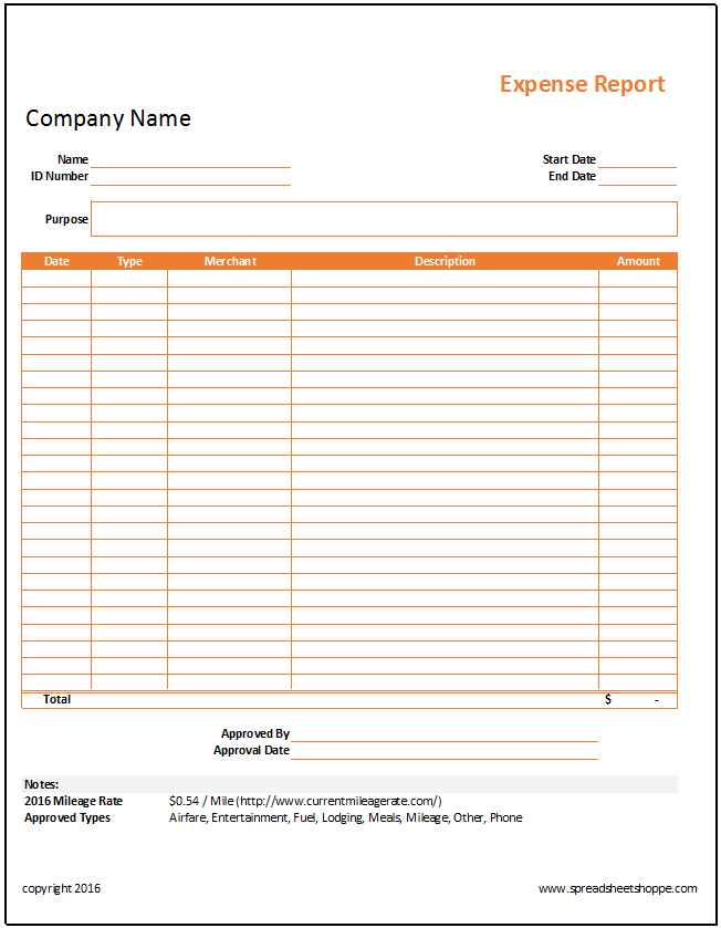 Expense Report Template – Expenses Report Format