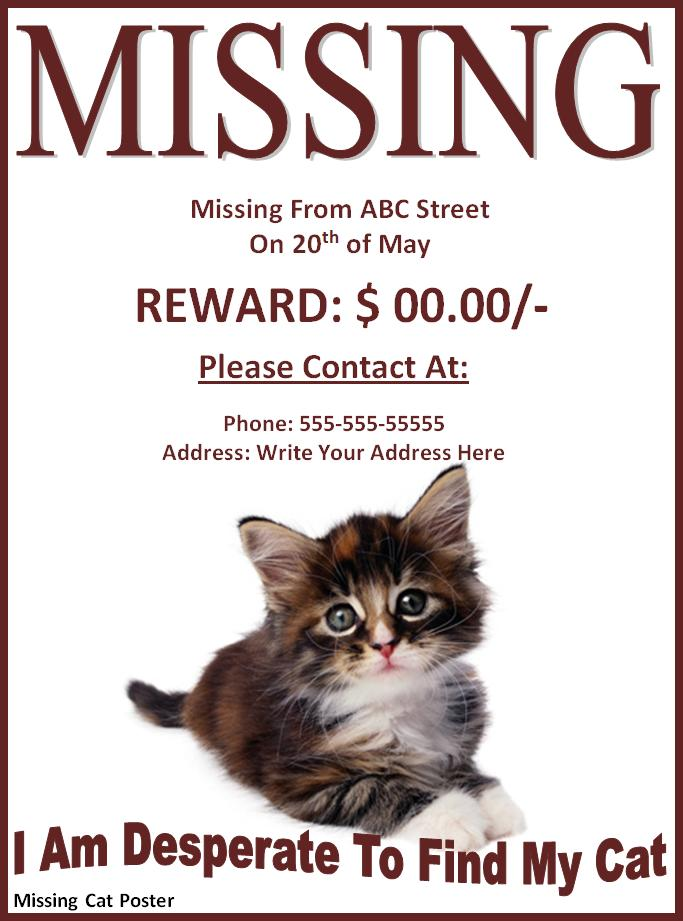 10+ Missing/Lost Pet Poster Templates Free Word Templates