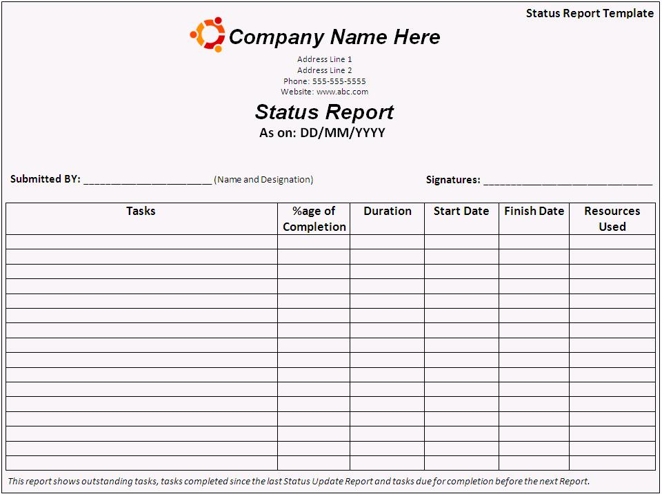 Status Report Template Free Word Templates - status report template