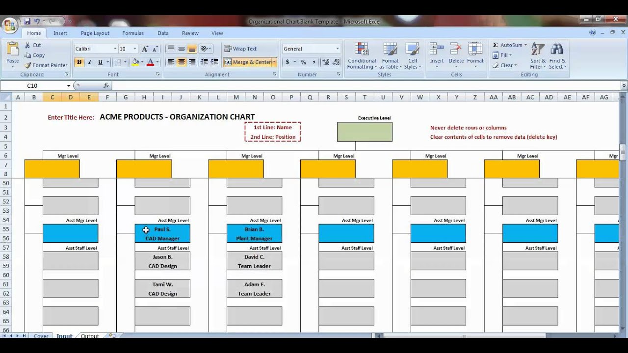 sample organizational chart in excel