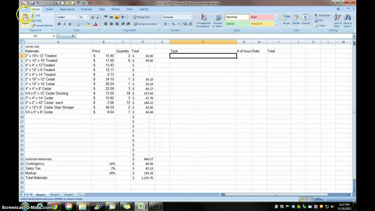 construction estimating excel template