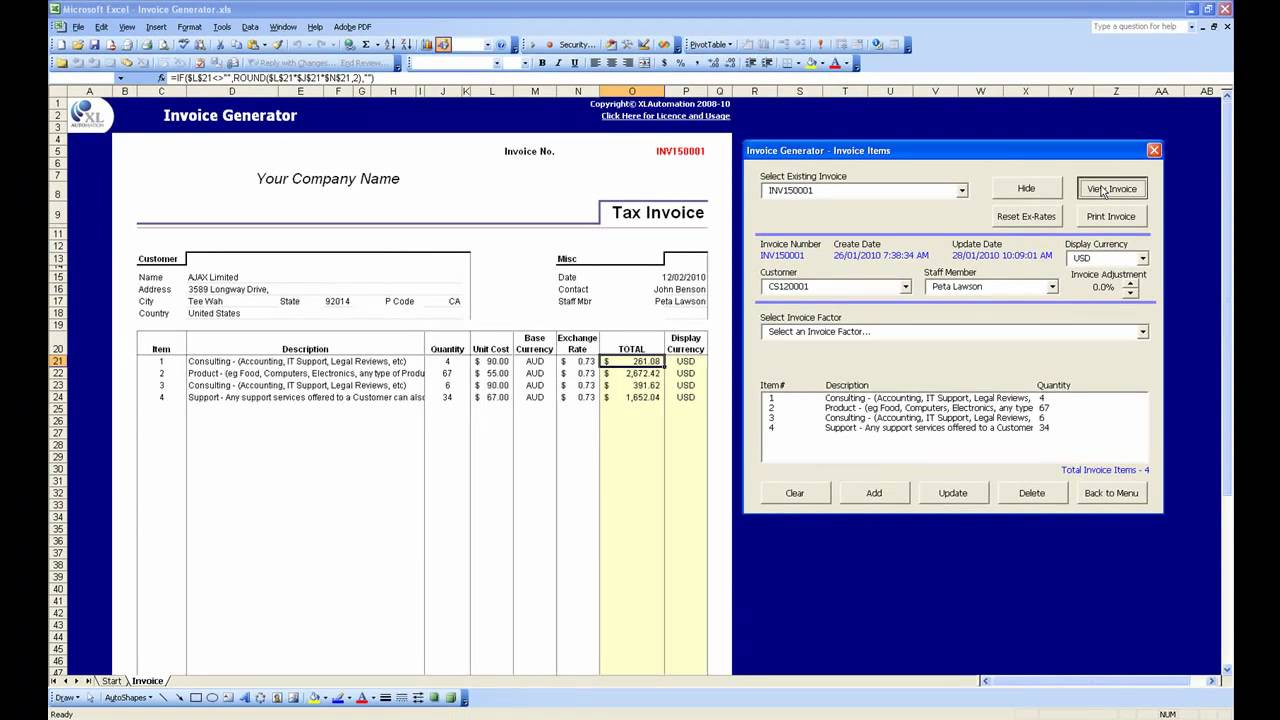 Simple Invoices An Open Source Web Based Invoicing System Excel Invoice Generator Demo Youtube