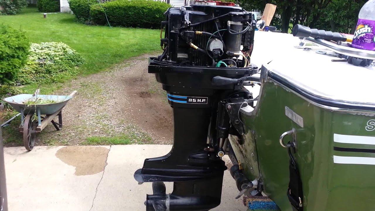 1977 85hp Johnson Wiring Diagram 1974 Mercury 850 85hp Outboard Power Trim Tilt Test Youtube
