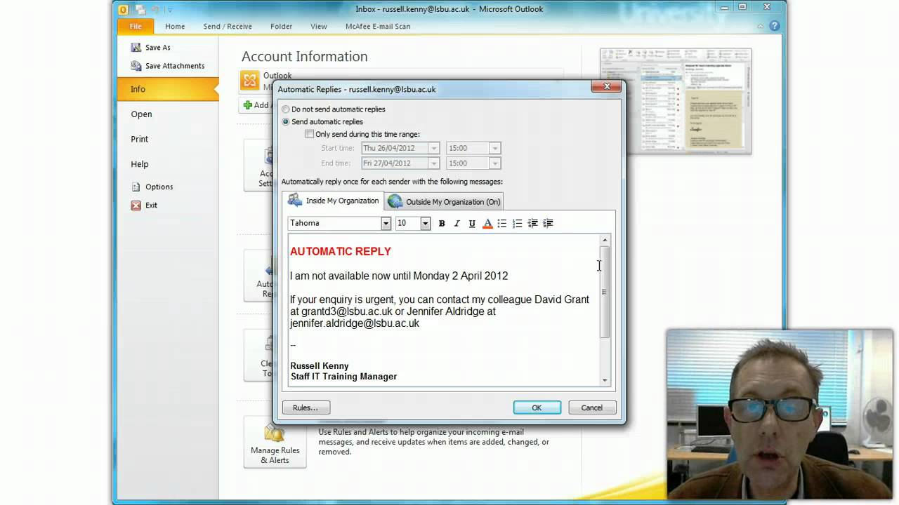 Outlook Add Vacation To Calendar Exchange Central Outlook Team Calendar Sharing > Groups Out Of Office Replies Outlook 2010 Youtube