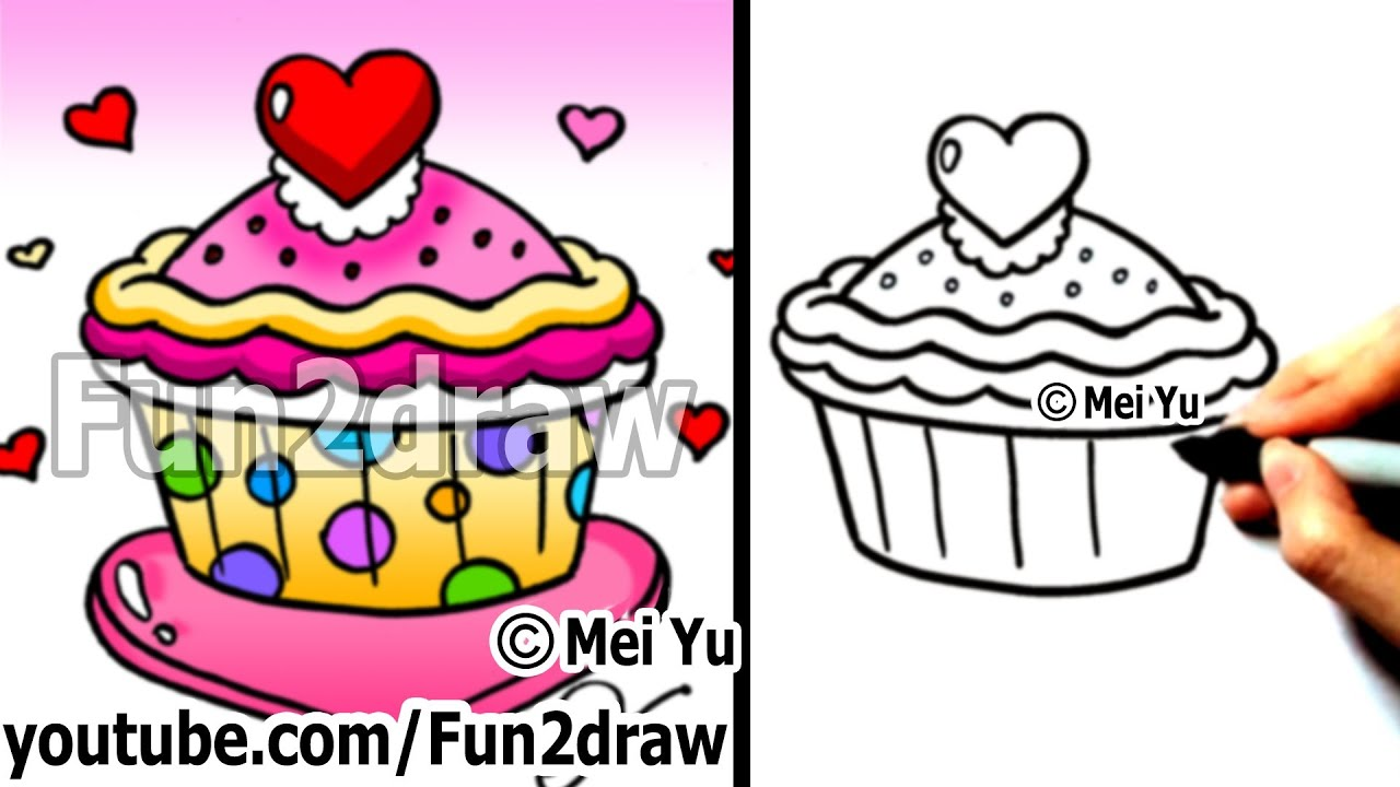 Teken App Android How To Draw A Heart Cupcake (valentines Day) - Fun Things