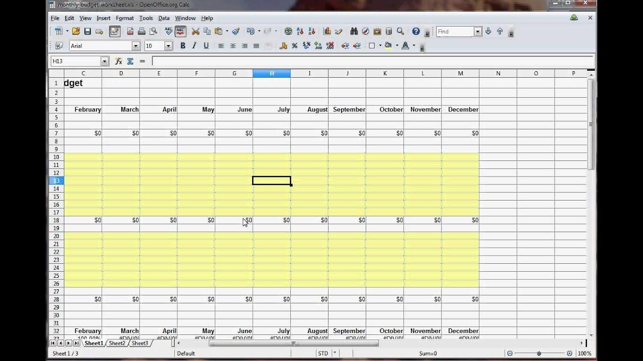 create a budget worksheet