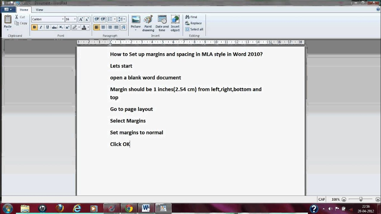 how to set up mla format on microsoft word 2010