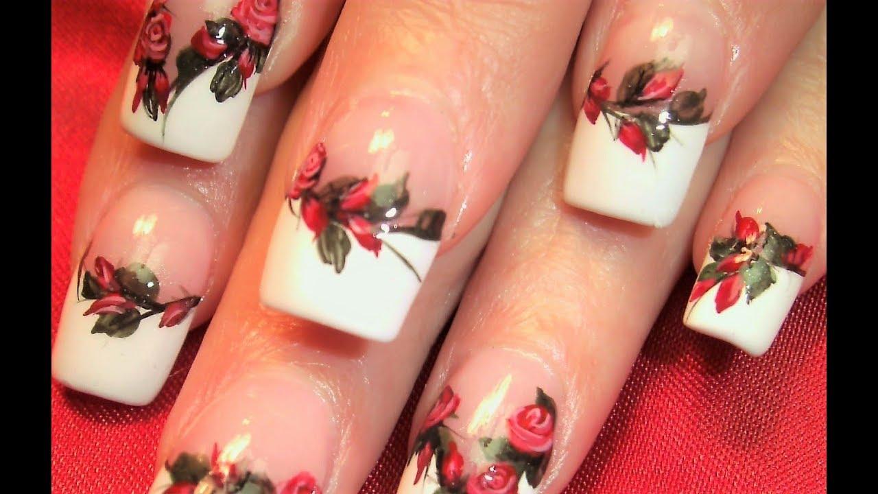 Flower Nails Elegant Rich Red Rose Nail Art Design