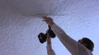 Ceiling plaster repair on a small buckling crack - YouTube